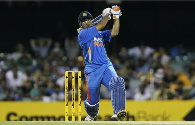 India's M.S Dhoni plays a shot against Australia during their one-day international cricket match in Brisbane