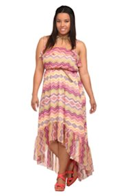 Multi Zigzag Chiffon Hi-Lo Dress