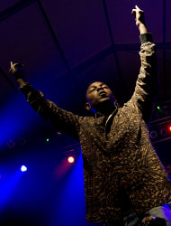 Rapper Kendrick Lamar performs at the Bonnaroo music festival in Manchester, Tenn., Thursday, June 7, 2012. (AP Photo/Dave Martin)