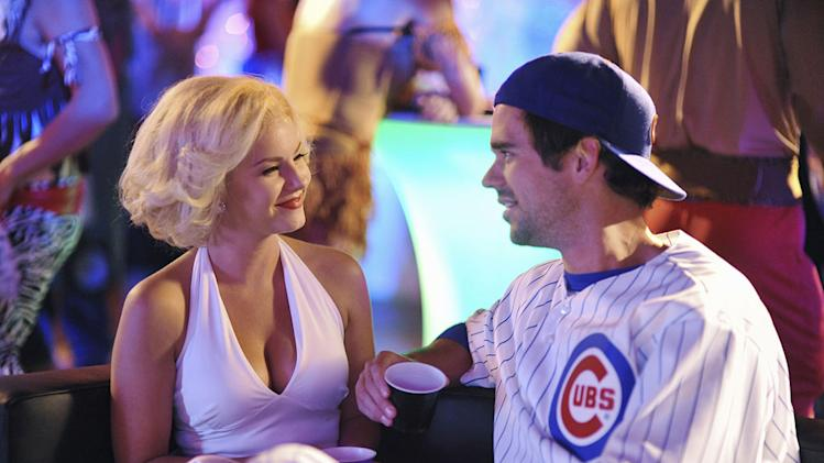 "Elisha Cuthbert as Alex and David Walton in the Halloween episode ""Spooky Endings"" of ""Happy Endings."""