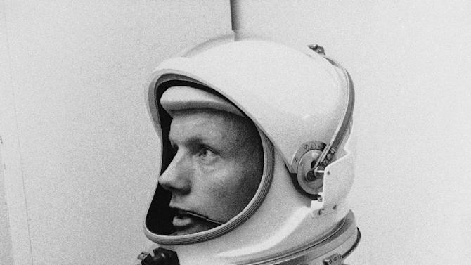 "FILE - In this March 6, 1966 file photo Astronaut Neil Armstrong, pilot for the Gemini VIII mission is shown. The family of Neil Armstrong, the first man to walk on the moon, says he has died at age 82. A statement from the family says he died following complications resulting from cardiovascular procedures. It doesn't say where he died. Armstrong commanded the Apollo 11 spacecraft that landed on the moon July 20, 1969. He radioed back to Earth the historic news of ""one giant leap for mankind."" Armstrong and fellow astronaut Edwin ""Buzz"" Aldrin spent nearly three hours walking on the moon, collecting samples, conducting experiments and taking photographs. In all, 12 Americans walked on the moon from 1969 to 1972.  (AP Photo/FILE)"