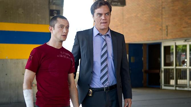 """This film image released by Columbia Pictures shows Joseph Gordon-Levitt, left, and Michael Shannon in a scene from """"Premium Rush."""" (AP Photo/Columbia Pictures - Sony, Sarah Shatz)"""