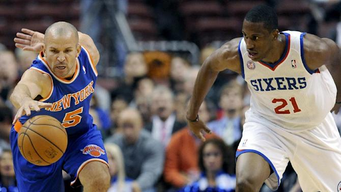 New York Knicks' Jason Kidd (5) steals the ball from Philadelphia 76ers' Thaddeus Young (21) in the first half of an NBA basketball game, Monday, Nov. 5, 2012, in Philadelphia. (AP Photo/Michael Perez)
