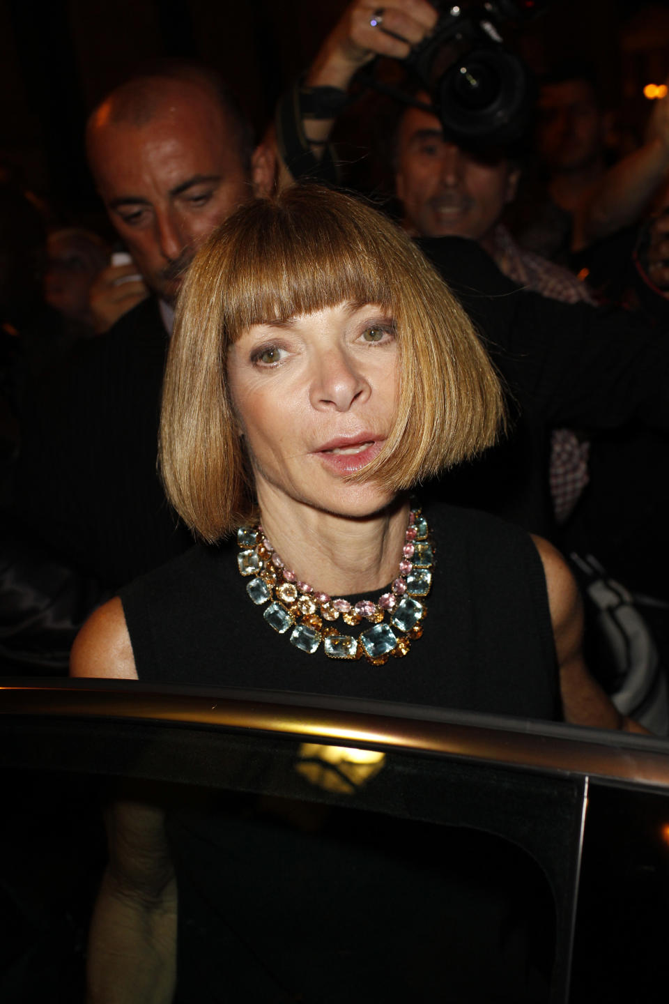 Anna Wintour, editor in chief of American Vogue, arrives at the rap singer Kanye West's spring-summer 2012 ready-to-wear collection presented Saturday, Oct.1, 2011 in Paris. (AP Photo/Thibault Camus)