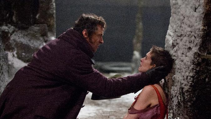 "This film image released by Universal Pictures shows Hugh Jackman as Jean Valjean, left, and Anne Hathaway as Fantine in a scene from ""Les Miserables."" (AP Photo/Universal Pictures, Laurie Sparham)"