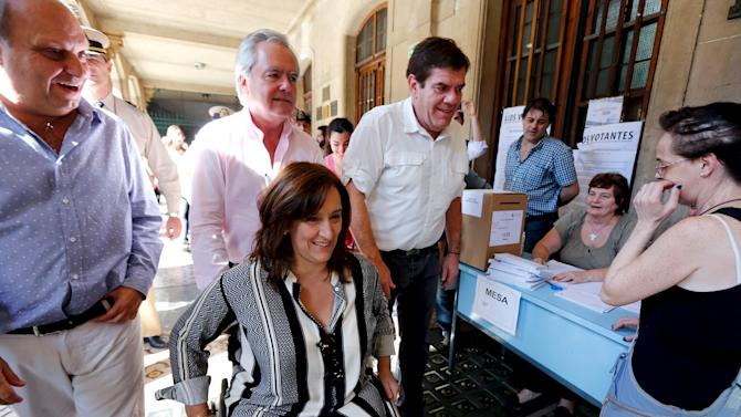 Michetti of the PRO party and members of her campaign team arrive to a polling station in Buenos Aires