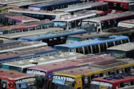 Buses are parked in an inter-district bus terminal during a nationwide strike in Dhaka last week. Shops, offices and schools are shut on Sunday amid tensions over the disappearance of an opposition leader