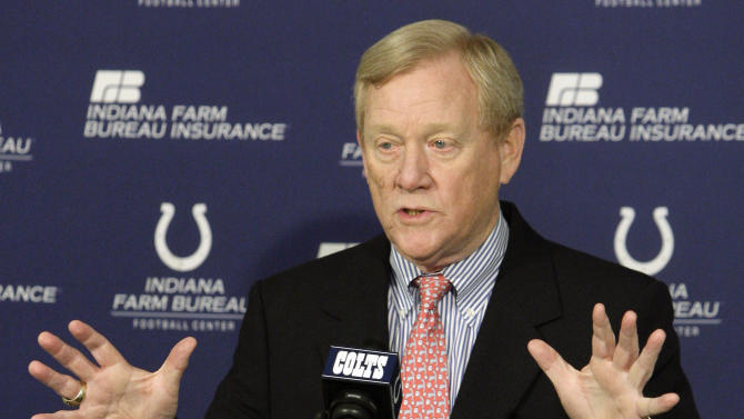FILE - In this April 21, 2010 file photo, Indianapolis Colts' Bill Polian responds to a question during a news conference in Indianapolis. Polian, who built the Bills, Panthers and Colts into Super Bowl teams as one of the NFL's most successful general managers and team presidents, strongly maintains that the league's vetting process is solid. (AP Photo/Darron Cummings, File)