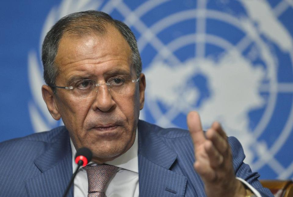 Russian Foreign Minister Sergei Lavrov speaks during a news conference following the Action Group on Syria meeting in the Palace of Nations, Saturday, June 30, 2012, at the United Nations' Headquarters in Geneva, Switzerland. (AP Photo/Martial Trezzini, Keystone)