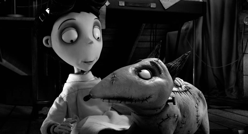 "This film image released by Disney shows Victor, voiced by Charlie Tahan, left, and  his pet Sparky in a scene from ""Frankenweenie."" (AP Photo/Disney)"""
