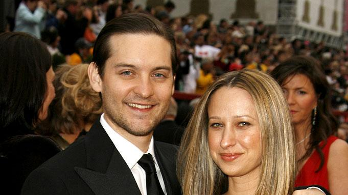 Tobey Maguire and Jennifer Meyer at The 79th Annual Academy Awards.