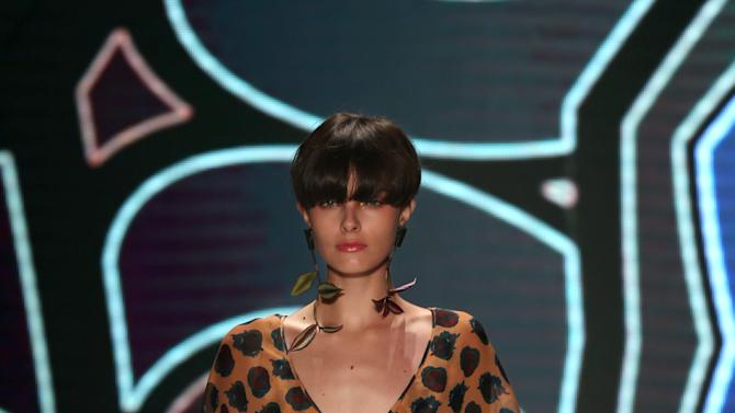 A model presents a creation for Lilly Sarti's 2017 collection during Sao Paulo Fashion Week in Sao Paulo