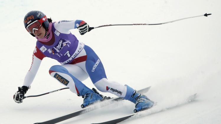Switzerland's Gisin skis during a training session ahead of the Women's World Cup Downhill skiing race in Val d'Isere