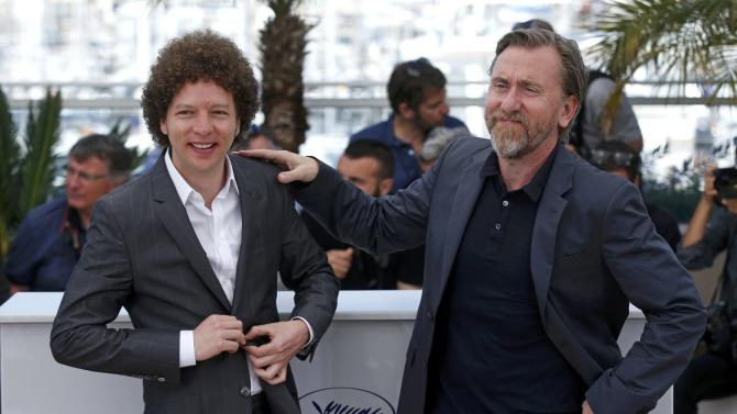 """Cast member Tim Roth and director Michel Franco pose during a photocall for the film """"Chronic"""" in competition at the 68th Cannes Film Festival in Cannes"""
