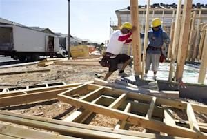 Carpenters frame a home at a residential construction site in the west side of the Las Vegas Valley in Las Vegas
