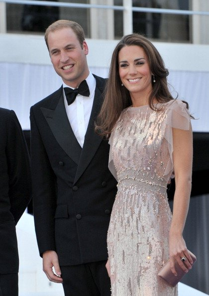 Catherine, Duchess of Cambridge looked stunning in a jeweled Jenny Packham gown at her first formal appearance since her marriage to Prince William. According to the palace, the evening gown cost $6,0