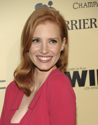 Actress Jessica Chastain arrives at the Women In Film 2012 Academy Award Party in West Hollywood, Calif. on Friday, Feb. 24, 2012. (AP Photo/Dan Steinberg)