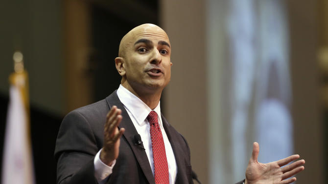 In this Jan. 21, 2014 photo, Neel Kashkari, a former U.S. Treasury official, announces that he will run for governor of California, during an appearance at the Sacramento Business Review at California State University, Sacramento in Sacramento, Calif., When Kashkari, 40, a Republican, announced that he is running for governor, he became the latest Californian of second-generation Indian descent to emerge in politics, despite their relatively small population.(AP Photo/Rich Pedroncelli)
