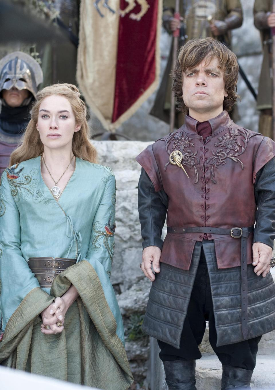 "In this publicity photo provided by HBO, Lena Headey as Cersei Lannister, left, and Peter Dinklage as Tyrion Lannister, are shown in a scene from HBO's ""Game of Thrones,"" Season 2, in Dubrovnik, Croatia. (AP Photo/HBO, Paul Schiraldi)"