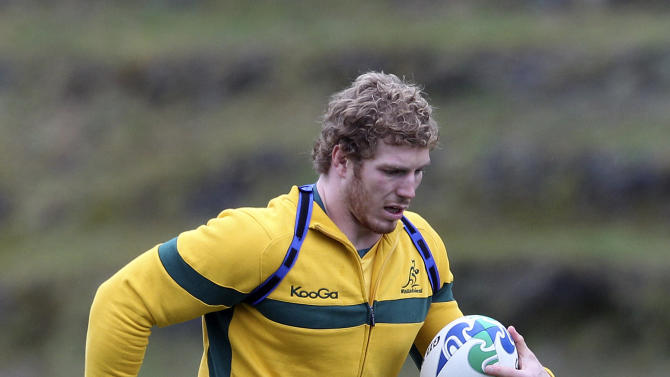 Australian rugby player David Pocock runs during a training session in Wellington, New Zealand, Monday, Sept. 19, 2011. Australia will play the USA in their next Rugby World Cup  Pool C match on Friday  Sept. 23.   (AP Photo/Rob Griffith)