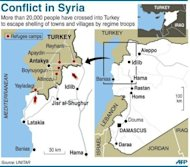 Map of Syria locating main cities as well as refugee camps across the border in Turkey. Syria on Sunday demanded guarantees that armed groups cease fire before withdrawing its troops from protest hubs as agreed with special envoy Kofi Annan, even as a UN truce deadline loomed