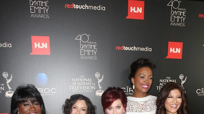 IMAGE DISTRIBUTED FOR EFG - From left, Sheryl Underwood, Sara Gilbert, Sharon Osbourne, Aisha Tyler and Julie Chen seen at The 40th Annual Daytime Emmys Awards Redtouch Red Carpet, on Sunday, June 16, 2013 in Beverly Hills, Calif. (Photo by Ryan Miller/Invision for EFG/AP Images)