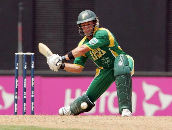 ST GEORGE'S, GRENADA - APRIL 10:  Mark Boucher hits another 6 in his innings of 52 during the Cricket World Cup Super 8 match between South Africa and West Indies at the Grenada National Stadium on Ap
