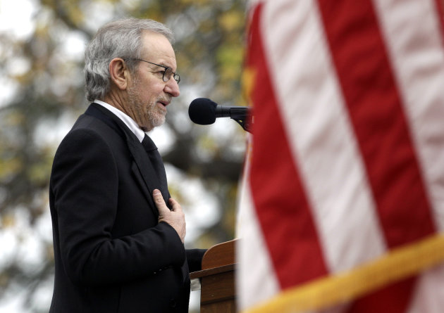 Director Steven Spielberg speaks at a ceremony to mark the 149th anniversary of President Abraham Lincoln&#39;s delivery of the Gettysburg Address at Soldier&#39;s National Cemetery in Gettysburg, Pa., Monday, Nov. 19, 2012. Spielberg and historian Doris Kearns Goodwin delivered remarks and participated in a wreath-laying ceremony. (AP Photo/Patrick Semansky)