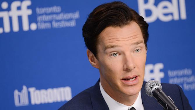 """FILE - In this Sept. 6, 2013 file photo, actor Benedict Cumberbatch participates in the news conference for """"The Fifth Estate"""" on day two of the 2013 Toronto International Film Festival at the TIFF Bell Lightbox, in Toronto. WikiLeaks posted the script to """"The Fifth Estate"""" on Sept. 18 and made its most forceful denunciation of the film about the site's creation and its colorful founder. (Photo by Evan Agostini/Invision/AP File)"""