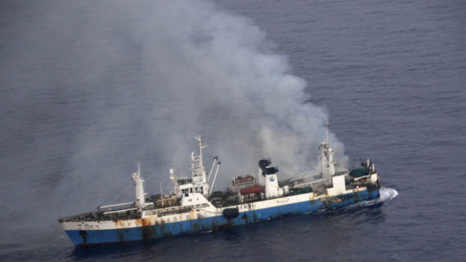 Chile says burned Chinese ship sinks in Antarctic