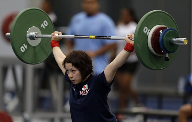 Hiromi Miyake of Japan works out in preparation for the 2012 Summer Olympics, Friday, July 27, 2012, in London. (AP Photo/Hassan Ammar)