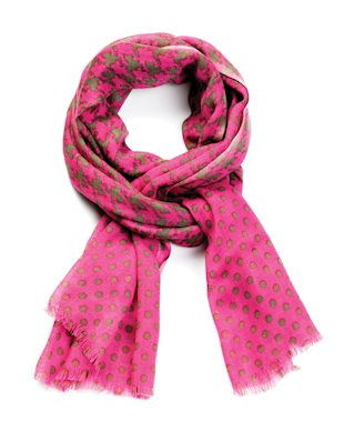 Pink scarf, green polka dots, Feb 13, p36