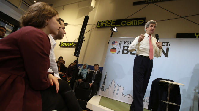 "U.S. Secretary of State John Kerry speaks at a ""Youth Connect: Berlin"" event in Berlin on Tuesday, Feb. 26, 2013. Berlin is the second stop in Kerry's first trip overseas as secretary. (AP Photo/Jacquelyn Martin, Pool)"