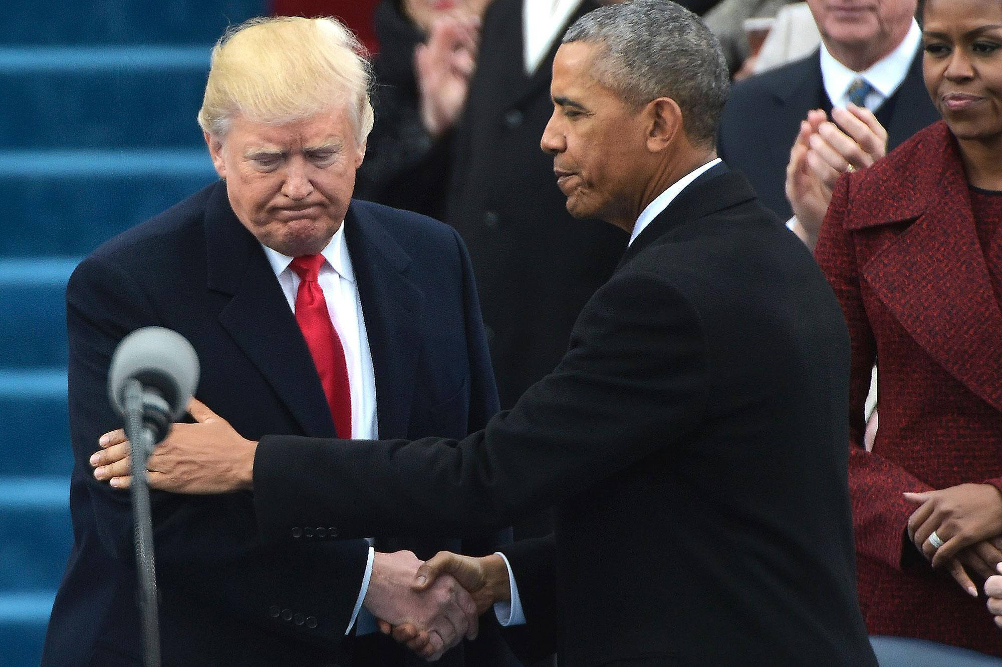 Donald Trump and Barack Obama Share Awkward Last Embrace Ahead of Swearing-In Ceremony