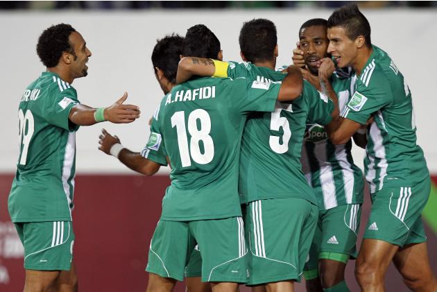 Iajour of Raja Casablanca celebrates his goal against Auckland City FC during their FIFA Club World Cup soccer match, at Agadir Stadium in Agadir