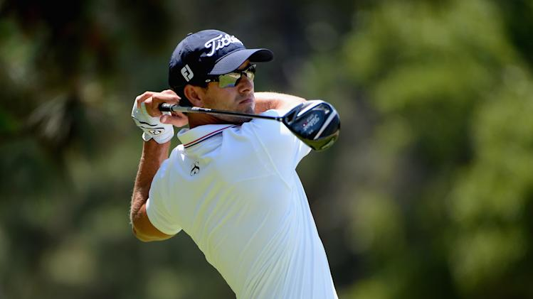 Adam Scott watches his tee shot on the second hole during the final round of the U.S. Open at Pinehurst on June 15, 2014
