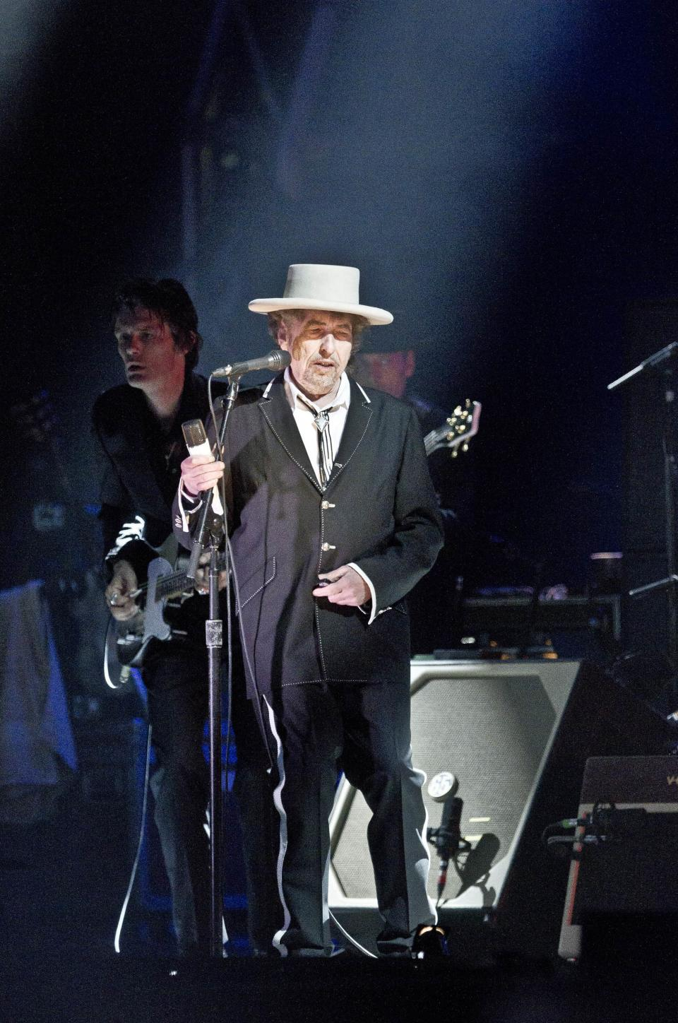 U.S. musician Bob Dylan performs weeks after his 70th birthday at the London Feis Festival, in Finsbury Park, Saturday, June 18, 2011. (AP Photo/Joel Ryan)