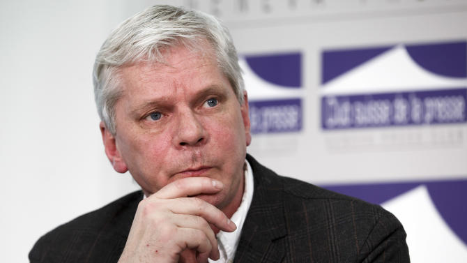 Kristinn Hrafnsson,  spokesman for the WikiLeaks organization, listens  during a press conference, at the  Press Club, in Geneva, Switzerland, Monday, Jan. 26, 2015.  The secrets-spilling group WikiLeaks has criticized Google for failing to inform it about U.S. search warrants issued against three of its staff. The warrants issued in March 2012 required Google to hand over the phone numbers, IP addresses, credit card details, contents of all emails and other information for Sarah Harrison, Kristinn Hrafnsson and Joseph Faerrell.  They were disclosed to WikiLeaks  in December.  Google didn't immediately respond to requests for comment.  (AP Photo/Keystone,Salvatore Di Nolfi)