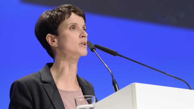 Frauke Petry, chairwoman of eurosceptic German party AfD delivers her speech during a party meeting in Bremen