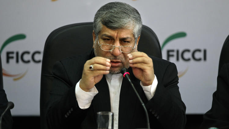 Iranian Energy Minister Majid Namjoo speaks during an interactive business meeting with Federation of Indian Chambers of Commerce and Industry members in New Delhi, India, Wednesday, Oct. 10, 2012. (AP Photo/Altaf Qadri)