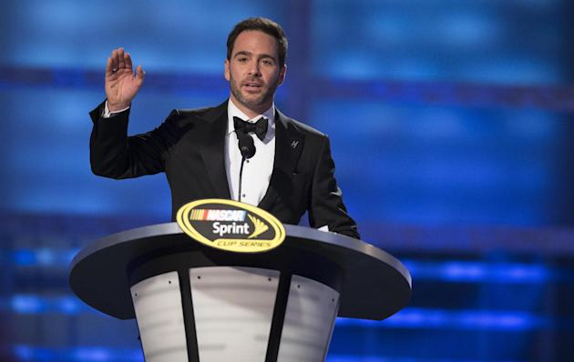 Jimmie Johnson speaks at The NASCAR Sprint Cup Series auto racing awards ceremony Friday, Dec. 6, 2013 in Las Vegas