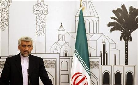Iran's chief negotiator Saeed Jalili addresses a news conference after a meeting in Baghdad