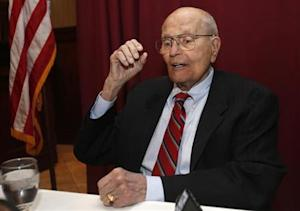 Rep. John Dingell, D-Mich, who replaced his father in the house some 58 years ago, talks with reporters after announcing during a luncheon that he would retire from public office at the end of his current term