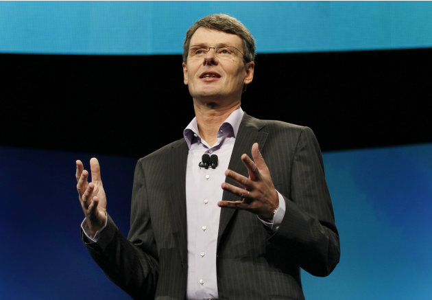 Thorsten Heins, president and CEO of Research In Motion, the company that makes BlackBerry, delivers the keynote speech during the BlackBerry World conference, Tuesday, May 1, 2012, in Orlando Fla. (A