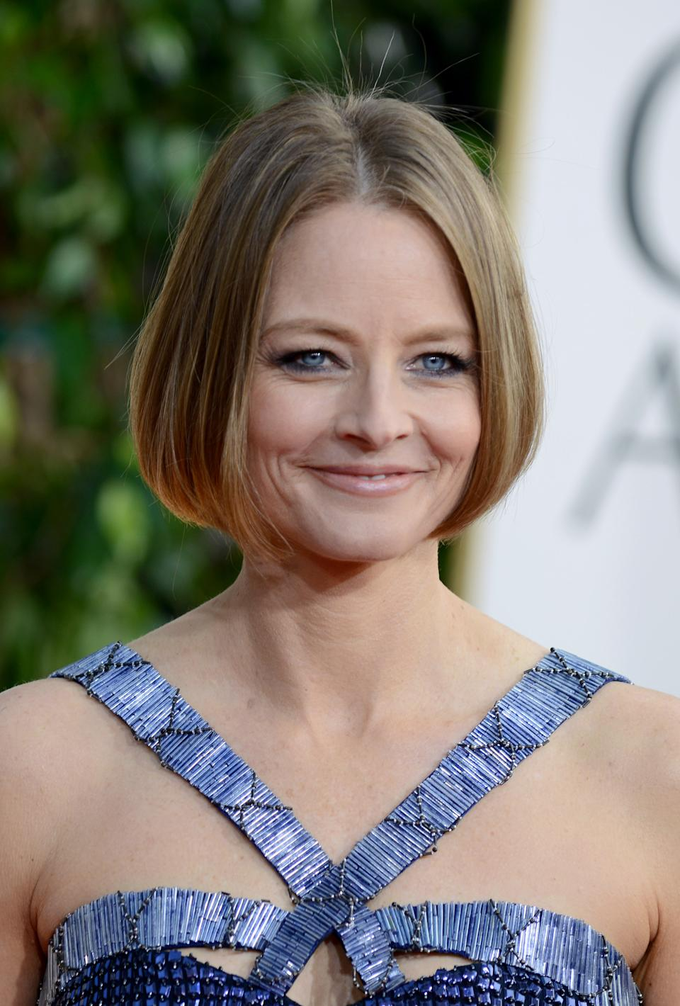 Actress Jodie Foster arrives at the 70th Annual Golden Globe Awards at the Beverly Hilton Hotel on Sunday Jan. 13, 2013, in Beverly Hills, Calif. (Photo by Jordan Strauss/Invision/AP)