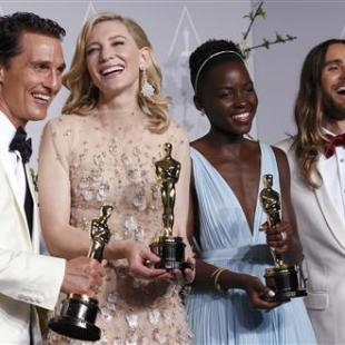 Best actor winner Matthew McConaughey, best actress winner Cate Blanchett, best supporting actress winner Lupita Nyong'o and best supporting actor winner Jared Leto pose with their Oscars at the 86th Academy Awards in Hollywood