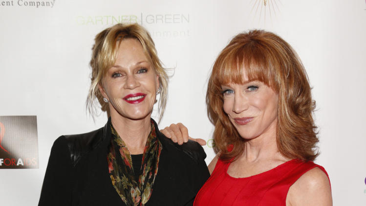 Melanie Griffith and Kathy Griffin attend the Best in Drag show at The Orpheum Theatre on Sunday, Oct. 7, 2012, in Los Angeles. (Photo by Todd Williamson/Invision/AP)