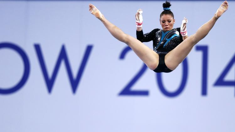 Beckett of South Africa performs during the women's gymnastics uneven bars apparatus final at the 2014 Commonwealth Games in Glasgow