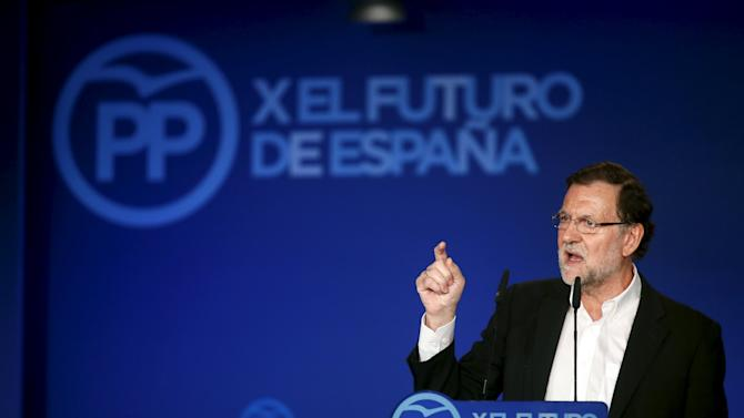 Spain's Prime Minister Mariano Rajoy  gestures during a meeting in Lloret de Mar, north of Barcelona