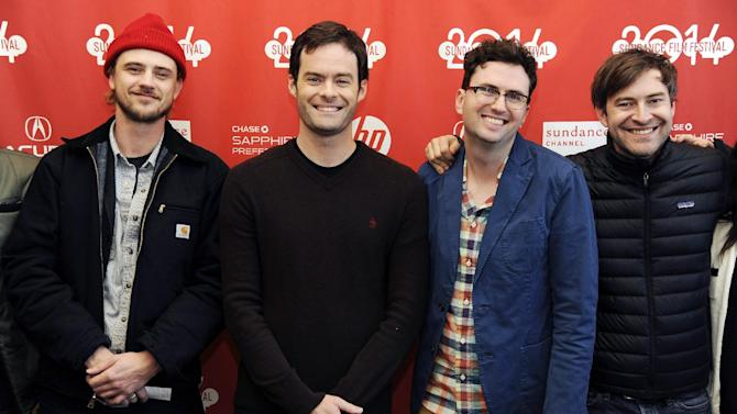 "Craig Johnson, second from right, director and co-writer of ""The Skeleton Twins,"" poses with, from left, cast members Boyd Holbrook and Bill Hader and executive producer Mark Duplass at the premiere of the film at the 2014 Sundance Film Festival on Saturday, Jan. 18, 2014, in Park City, Utah. (Photo by Chris Pizzello/Invision/AP)"